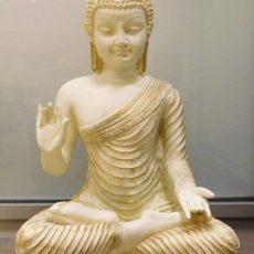 Buddhapatsas, antiikin valkoinen kulta, kuvattu edestä