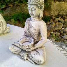 Buddhapatsas, antiikin valkoinen, betonipatsas